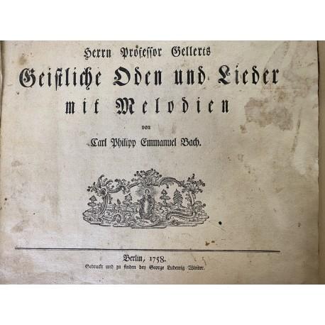 Bach, Carl Philipp Emanuel: Herrn Professor Gellerts Geistliche Oden und Lieder